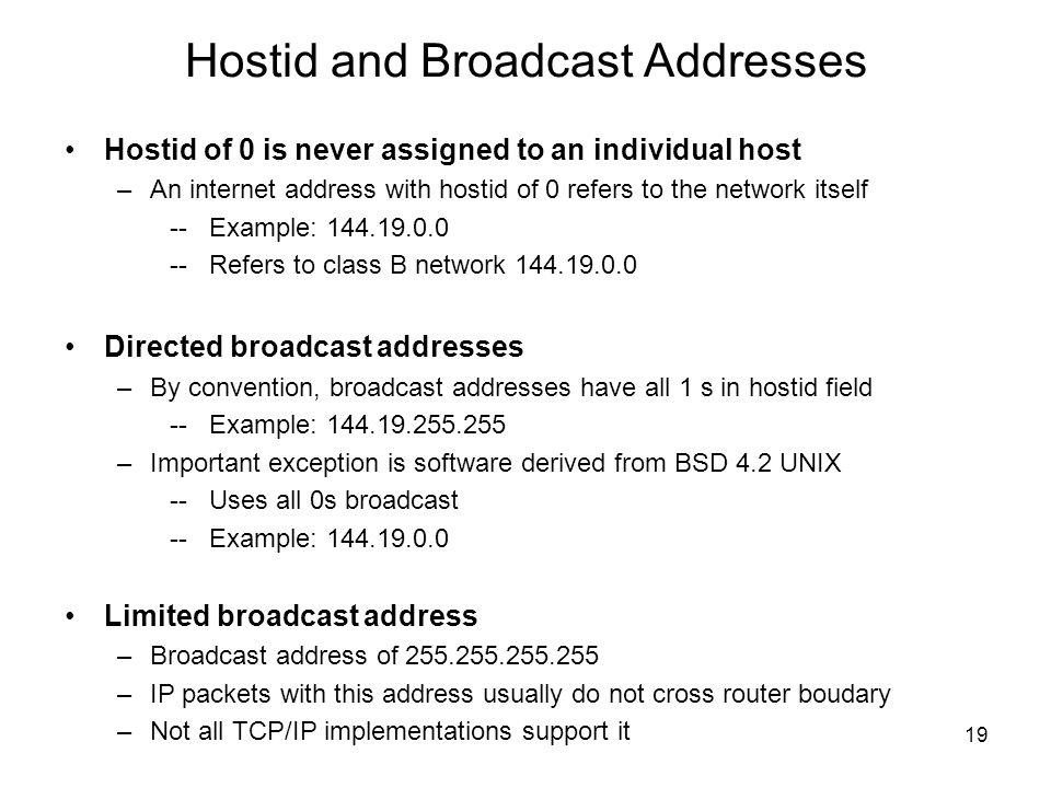 Hostid and Broadcast Addresses