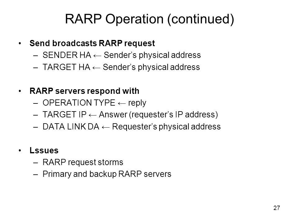 RARP Operation (continued)