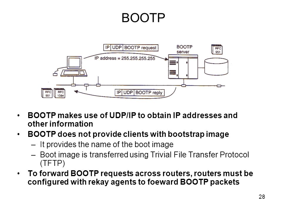 BOOTP BOOTP makes use of UDP/IP to obtain IP addresses and other information. BOOTP does not provide clients with bootstrap image.