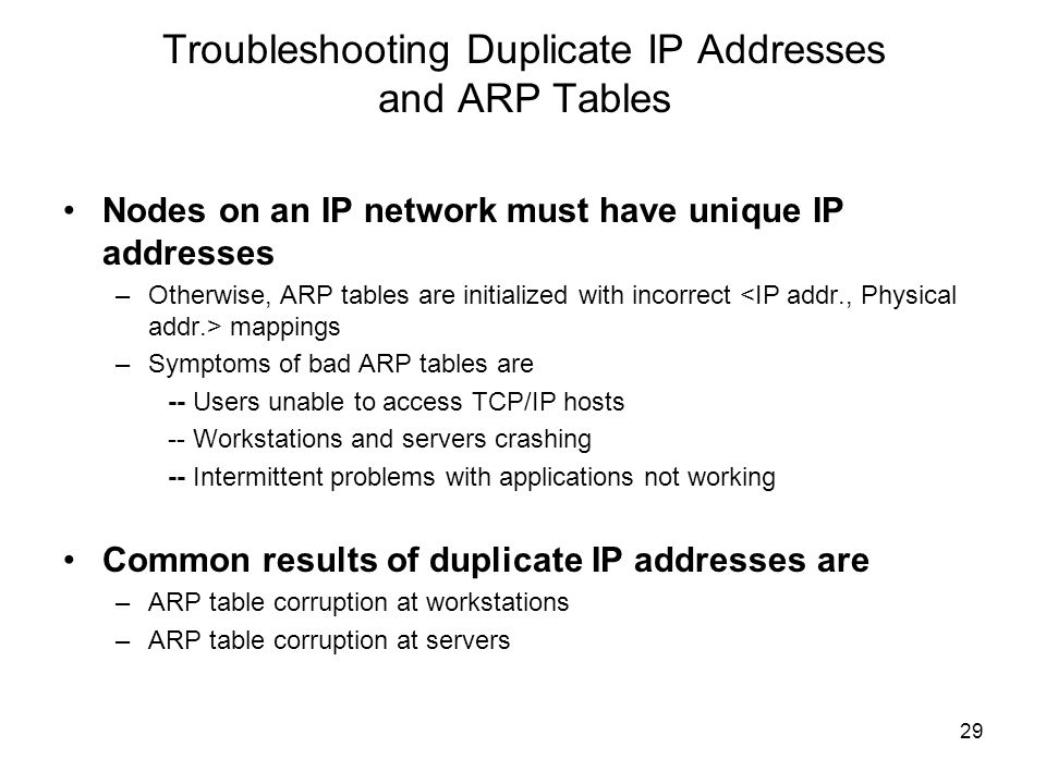Troubleshooting Duplicate IP Addresses and ARP Tables