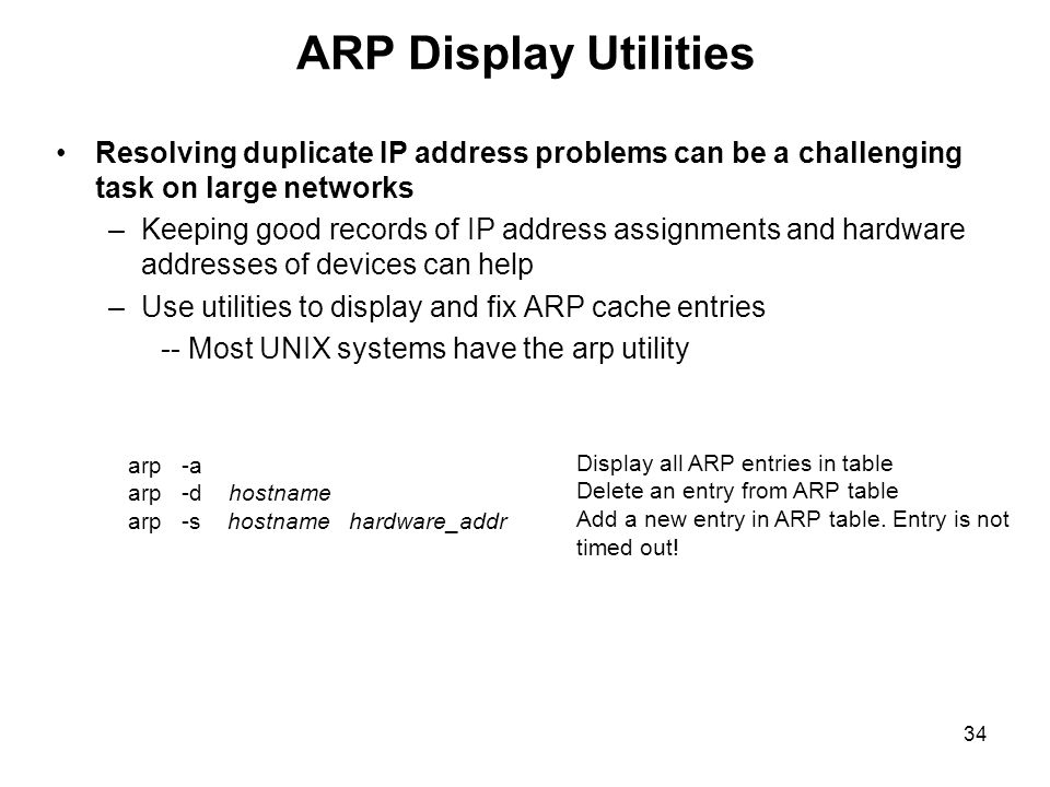 ARP Display Utilities Resolving duplicate IP address problems can be a challenging task on large networks.