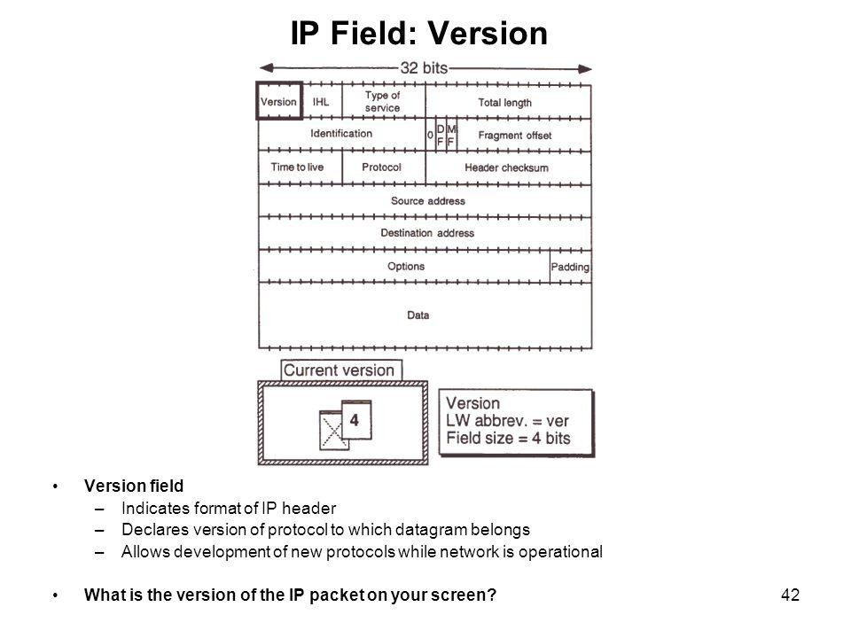 IP Field: Version Version field Indicates format of IP header