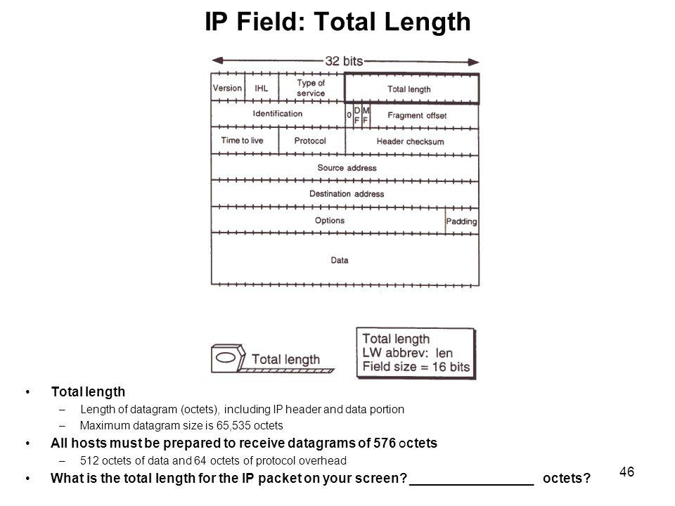 IP Field: Total Length Total length