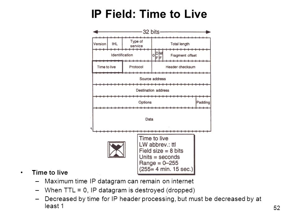 IP Field: Time to Live Time to live