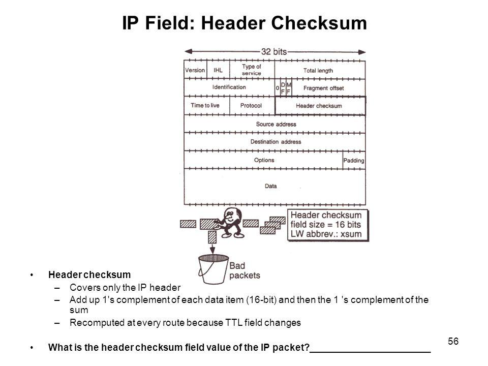 IP Field: Header Checksum