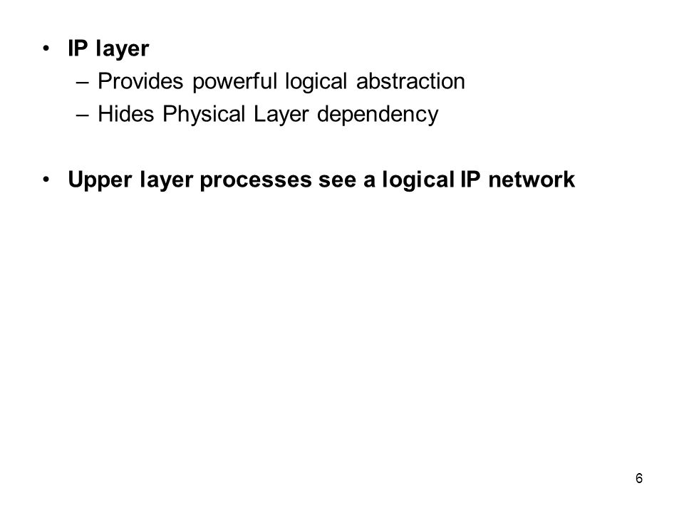 IP layer Provides powerful logical abstraction. Hides Physical Layer dependency.