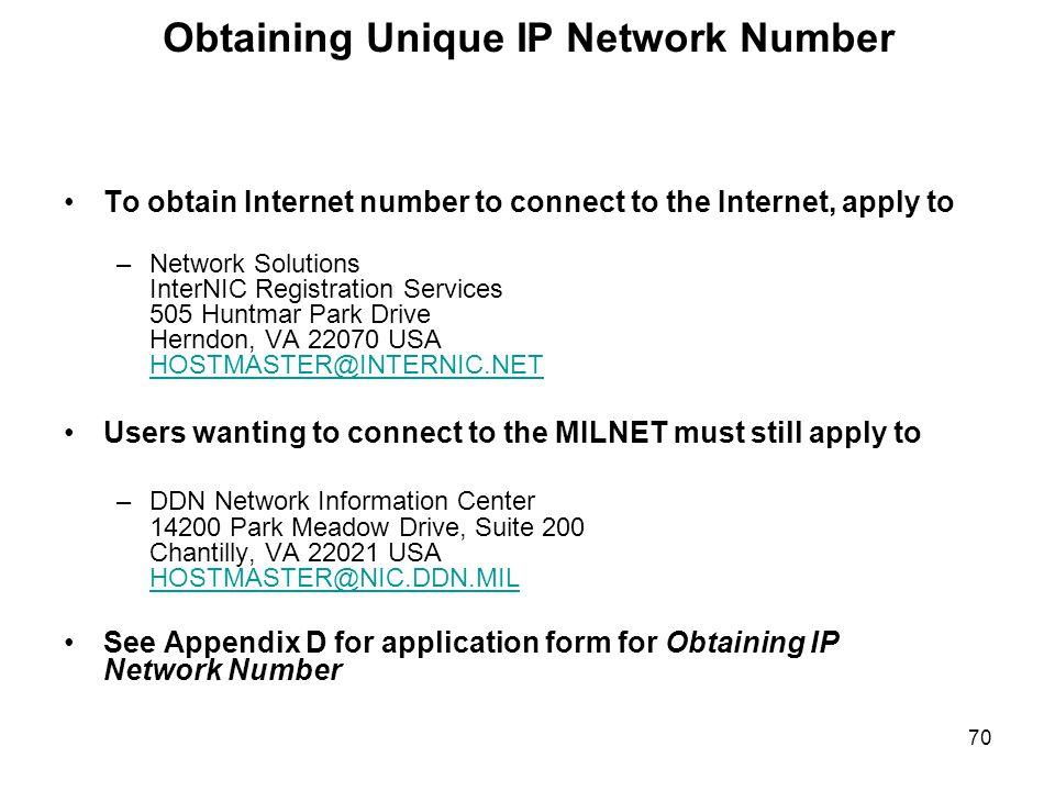 Obtaining Unique IP Network Number