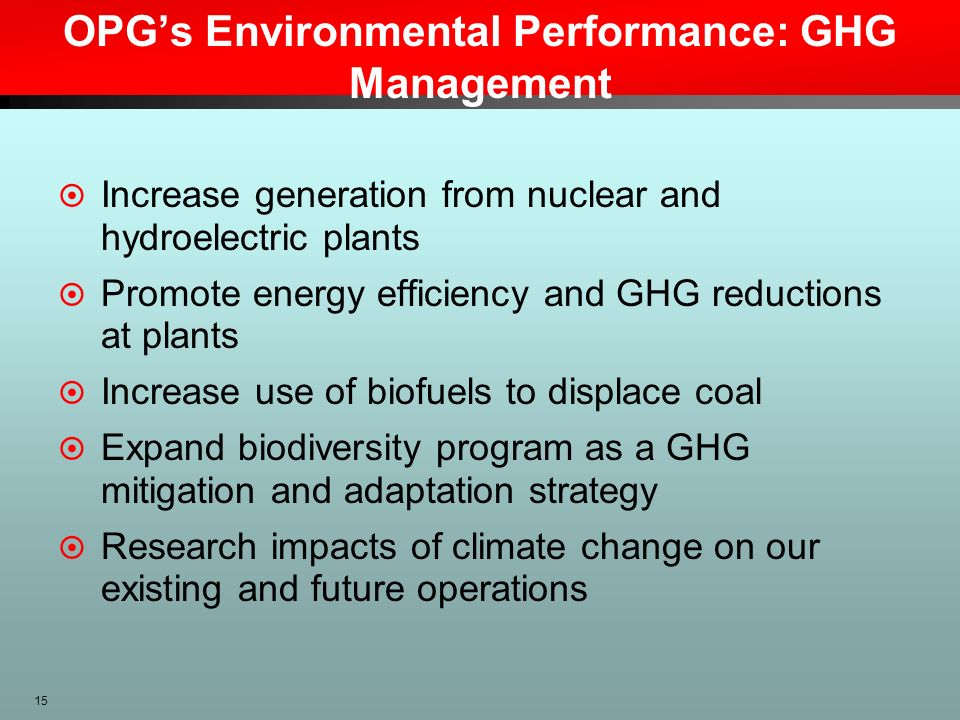 OPG's Environmental Performance: GHG Management