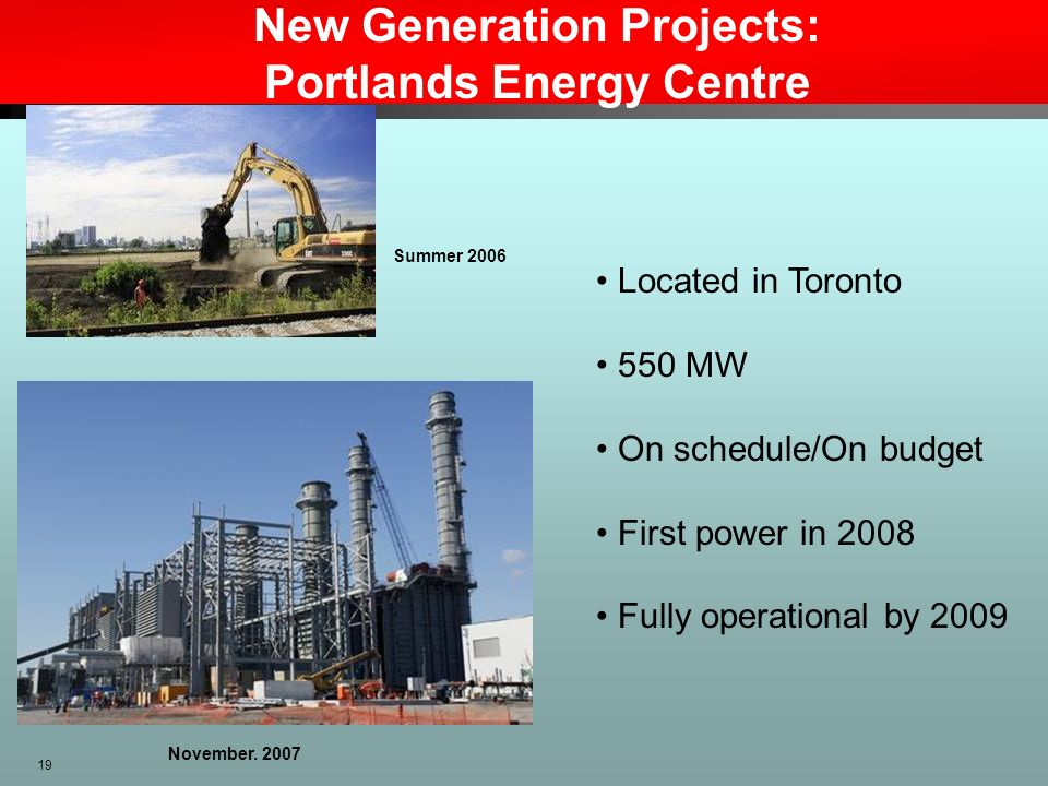 New Generation Projects: Portlands Energy Centre