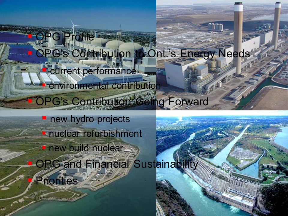 OPG's Contribution to Ont.'s Energy Needs current performance