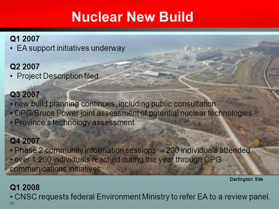 Nuclear New Build Q1 2007 EA support initiatives underway Q2 2007