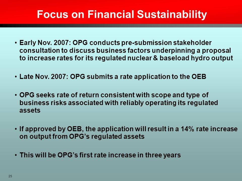 Focus on Financial Sustainability