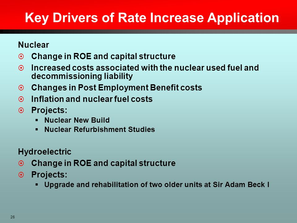 Key Drivers of Rate Increase Application