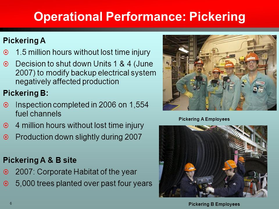 Operational Performance: Pickering