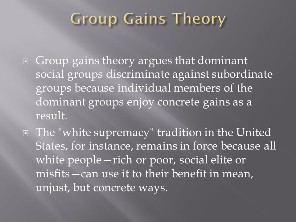Group Gains Theory