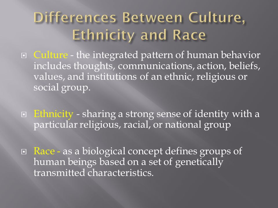 Differences Between Culture, Ethnicity and Race