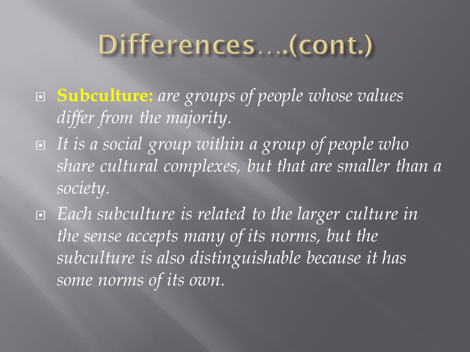 Differences….(cont.) Subculture: are groups of people whose values differ from the majority.