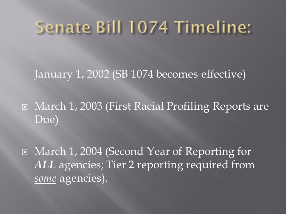 Senate Bill 1074 Timeline: January 1, 2002 (SB 1074 becomes effective)