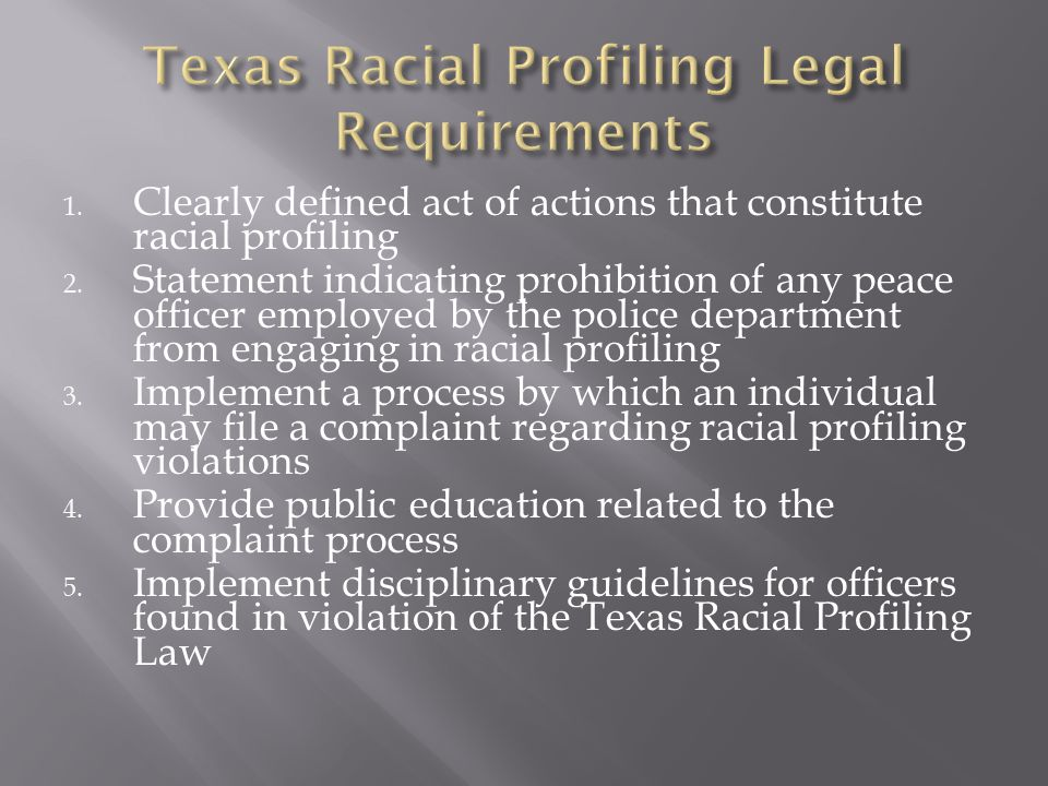 Texas Racial Profiling Legal Requirements