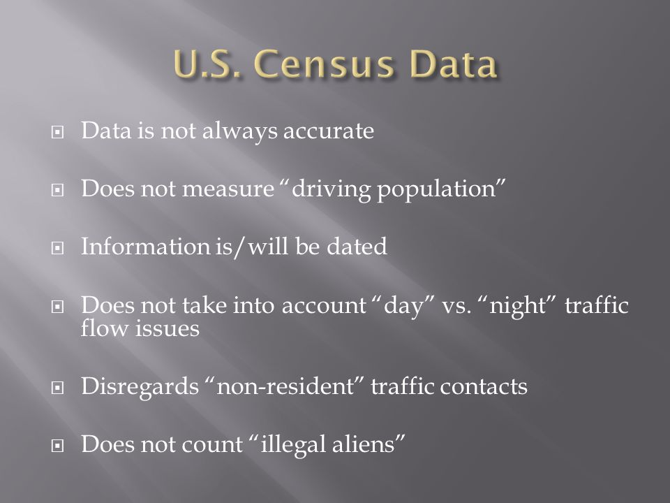 U.S. Census Data Data is not always accurate