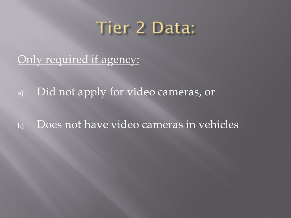 Tier 2 Data: Only required if agency: