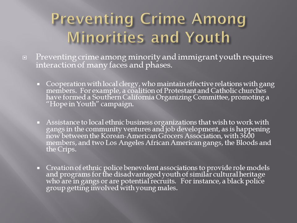 Preventing Crime Among Minorities and Youth