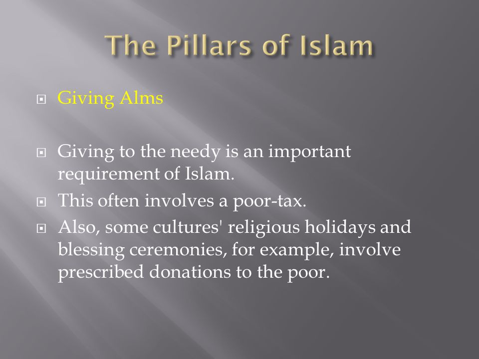 The Pillars of Islam Giving Alms