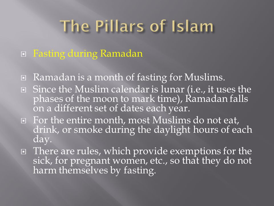 The Pillars of Islam Fasting during Ramadan