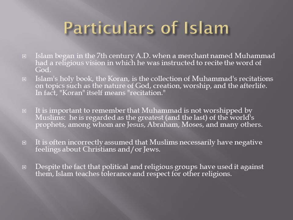 Particulars of Islam