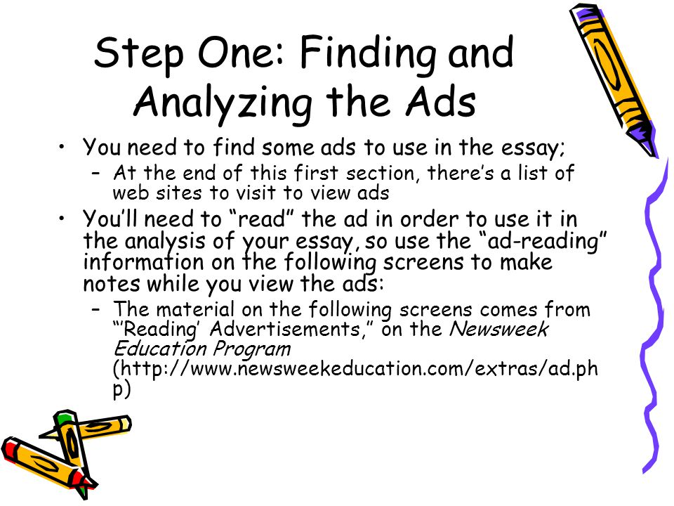 essay two ppt video online step one finding and analyzing the ads