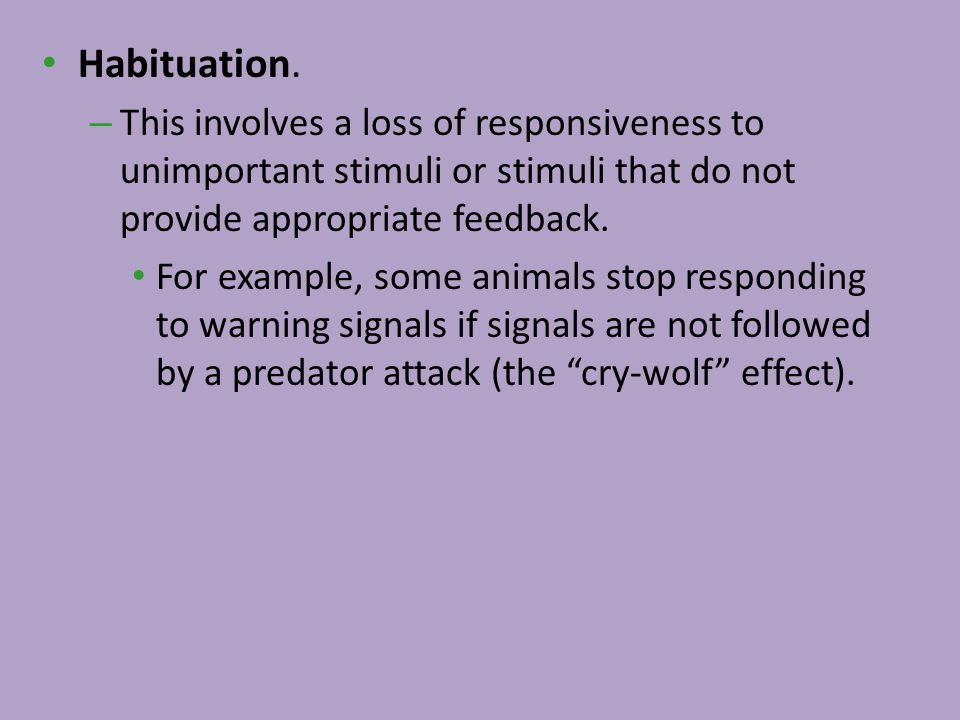 Habituation. This involves a loss of responsiveness to unimportant stimuli or stimuli that do not provide appropriate feedback.