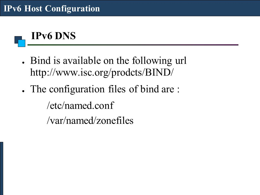 The configuration files of bind are : /etc/named.conf