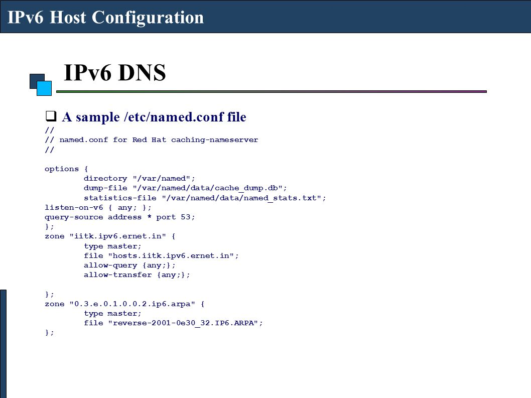 IPv6 DNS IPv6 Host Configuration A sample /etc/named.conf file //
