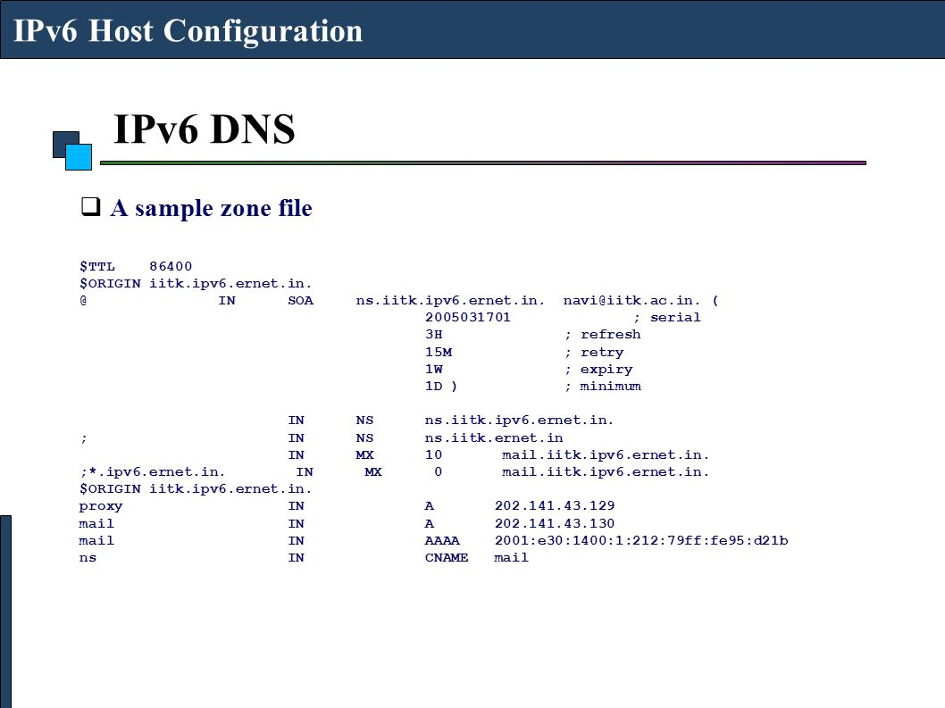 IPv6 DNS IPv6 Host Configuration A sample zone file $TTL 86400