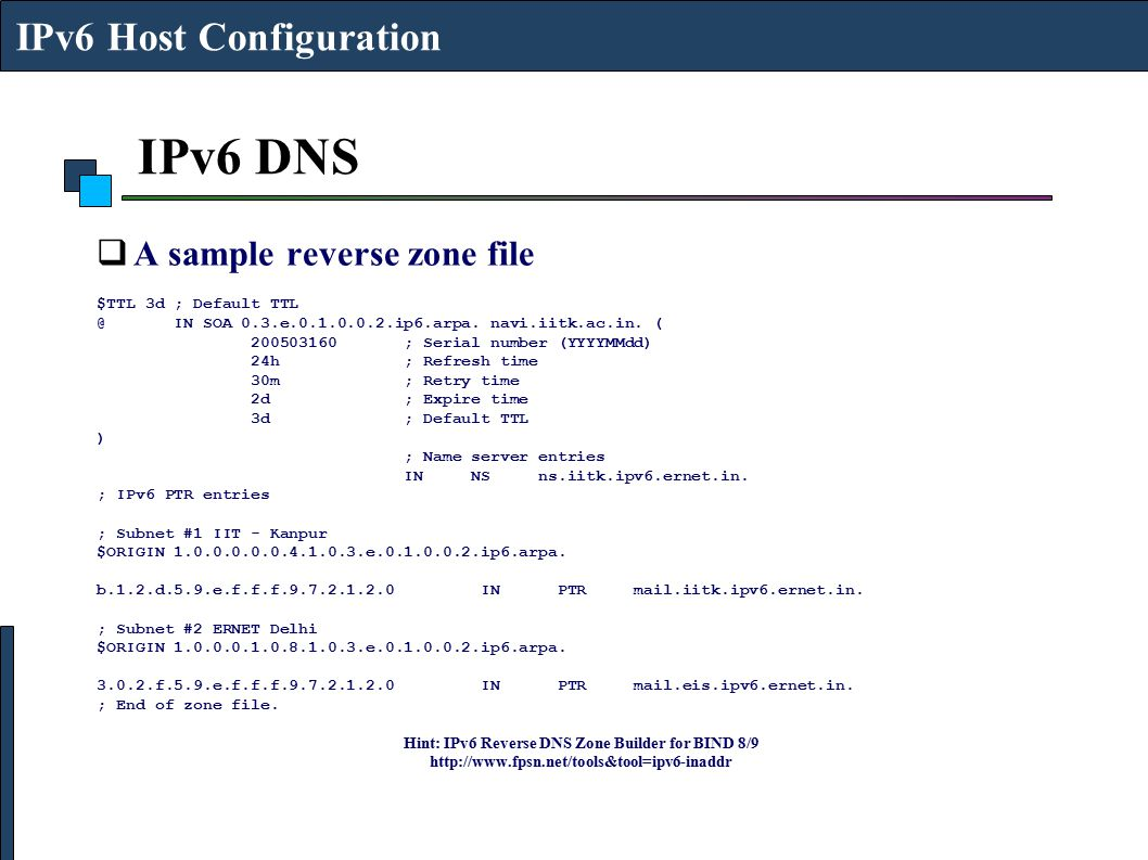 Hint: IPv6 Reverse DNS Zone Builder for BIND 8/9