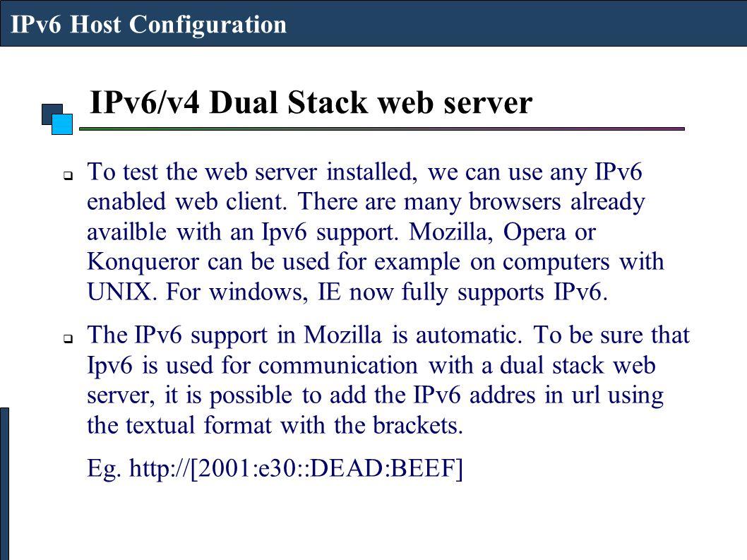 IPv6/v4 Dual Stack web server
