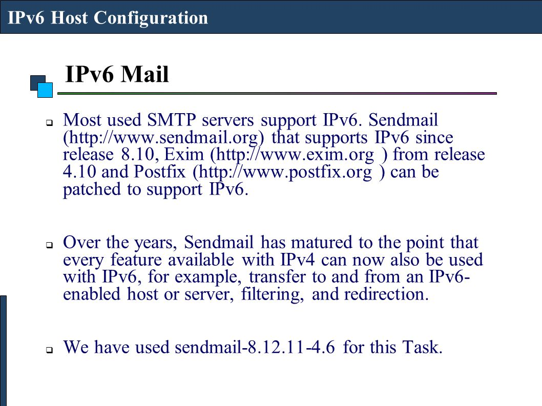 IPv6 Mail IPv6 Host Configuration