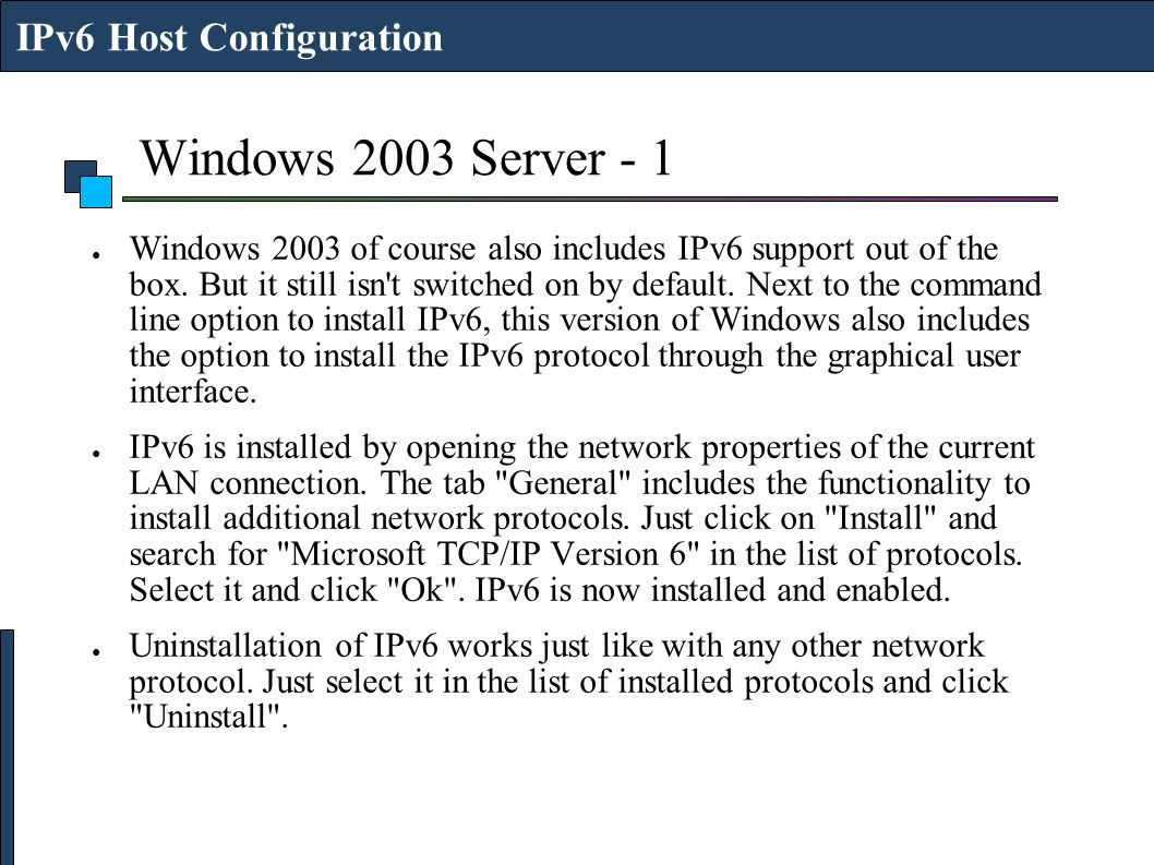 Windows 2003 Server - 1 IPv6 Host Configuration