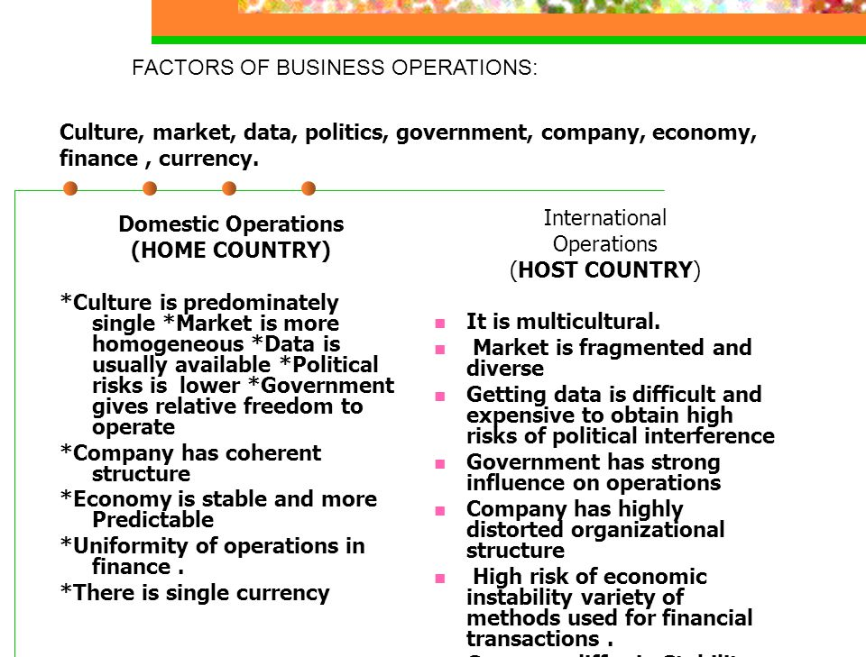 FACTORS OF BUSINESS OPERATIONS: