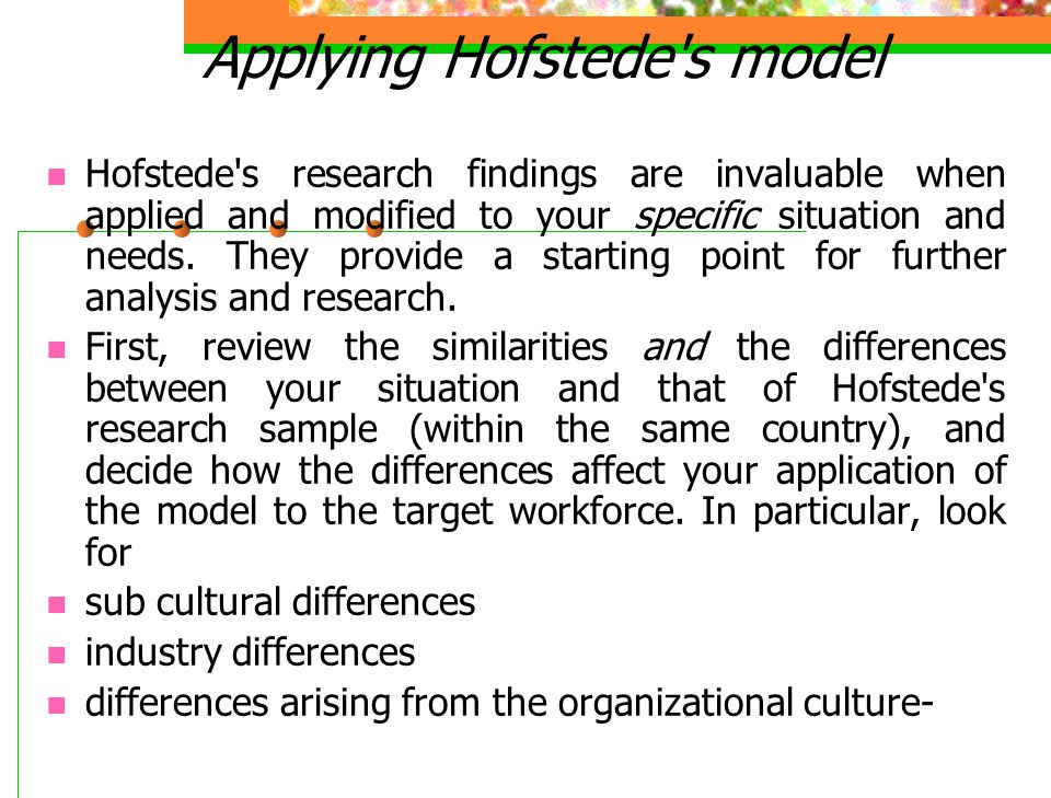 Applying Hofstede s model