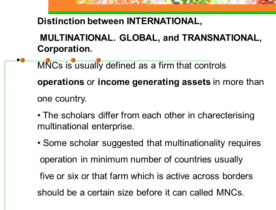 Distinction between INTERNATIONAL,