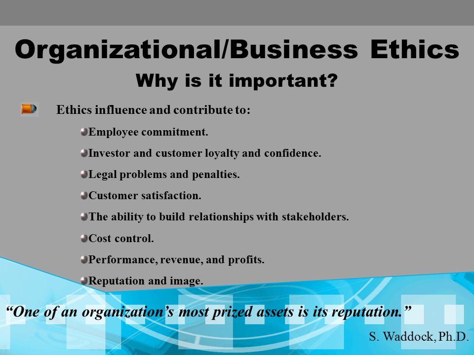 ethical performance and relationship building in retailing