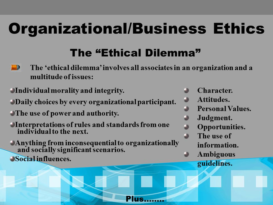 Organizational/Business Ethics