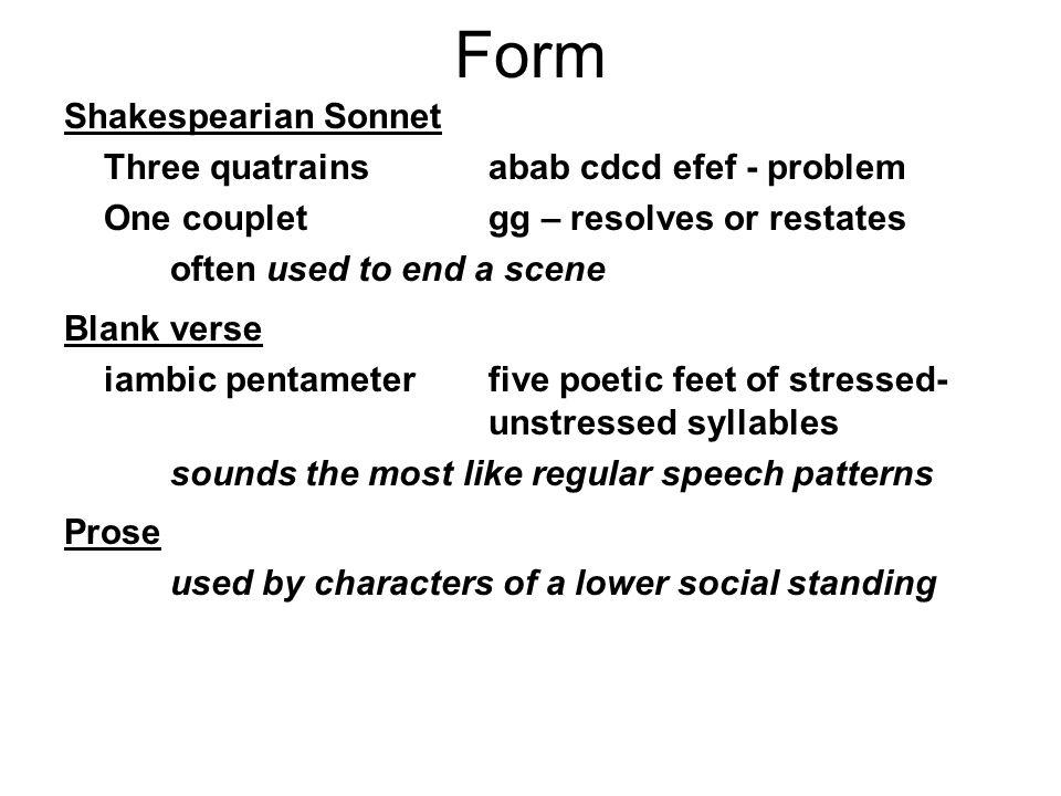 Form Shakespearian Sonnet Three quatrains abab cdcd efef - problem