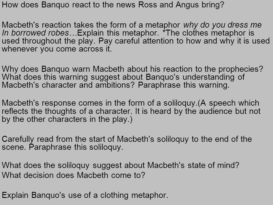 How does Banquo react to the news Ross and Angus bring