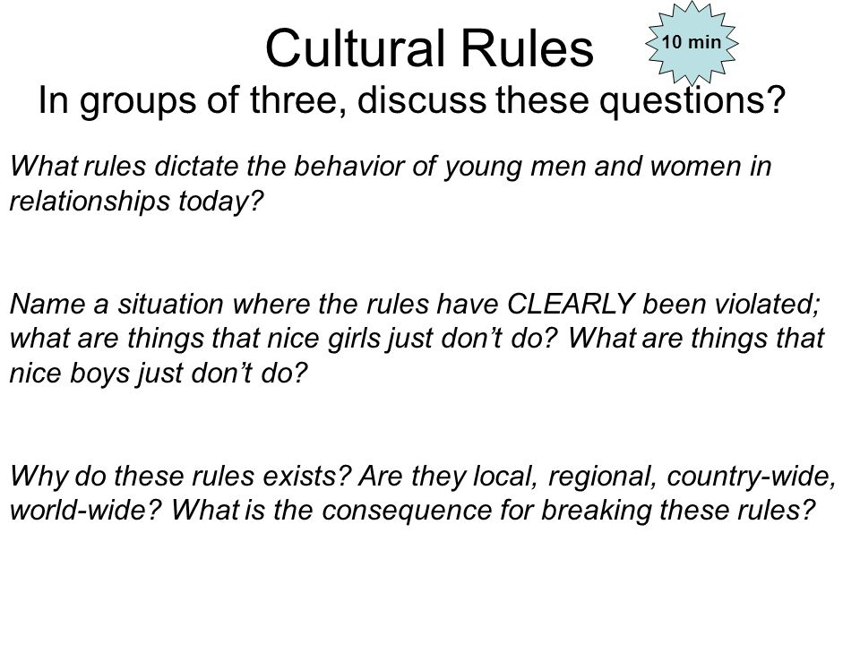 Cultural Rules In groups of three, discuss these questions