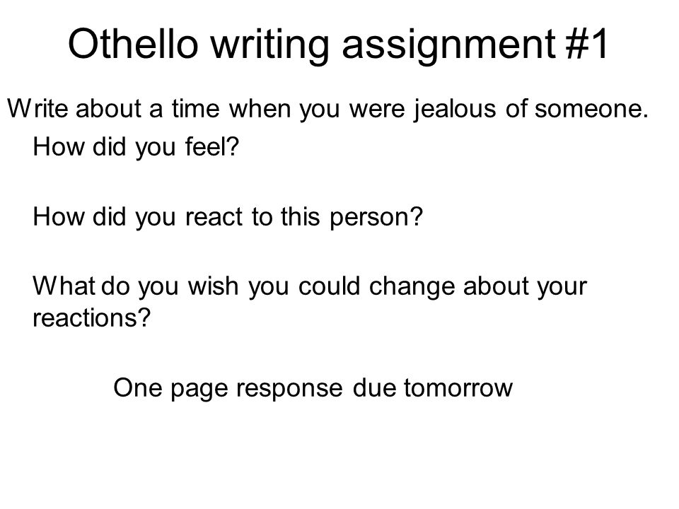 Othello writing assignment #1