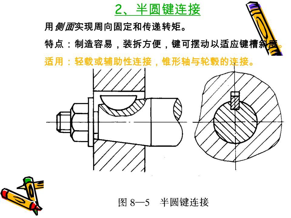 2、半圆键连接 用侧面实现周向固定和传递转矩。 特点:制造容易,装拆方便,键可摆动以适应键槽斜度。