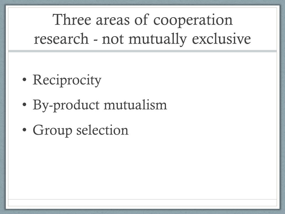 Three areas of cooperation research - not mutually exclusive