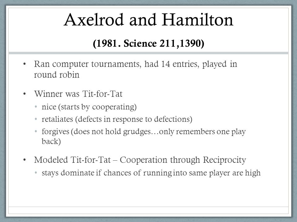 Axelrod and Hamilton (1981. Science 211,1390)